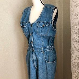 Gloria Vanderbilt Soft Blue Denim Jumpsuit Medium